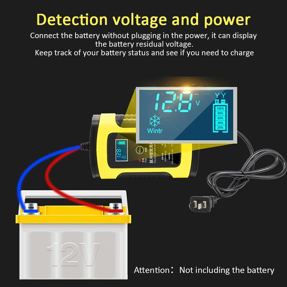 Image 4 - 12V 6A Motorcycle Car Battery Charger Fully Intelligent Repair Lead Acid Storage Charger Moto Intelligent LCD Display