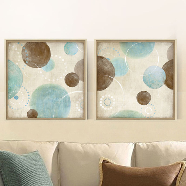 Light Blue Beige Brown Circles Modern Abstract Painting Canvas Wall Art Decorative Artist Home