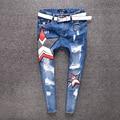 New spring light star pattern worn white waist grasps the grain grinding small loose ankle-length denim pants  Cross pants