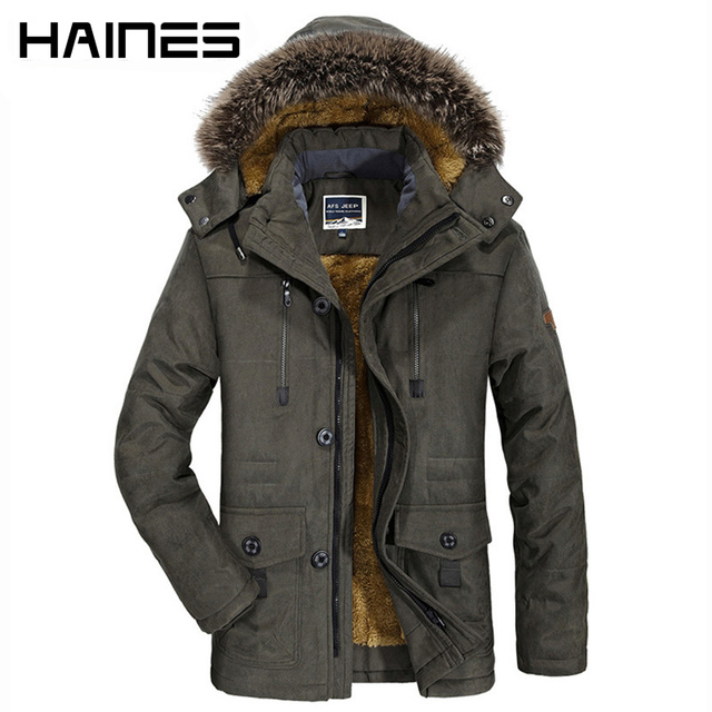 HAINES 2018 Winter Bomber Jacket Men Fashion Fur Hooded Military Jackets  Thicken Warm Windproof Windbreaker jaqueta masculina 237c5f36ef