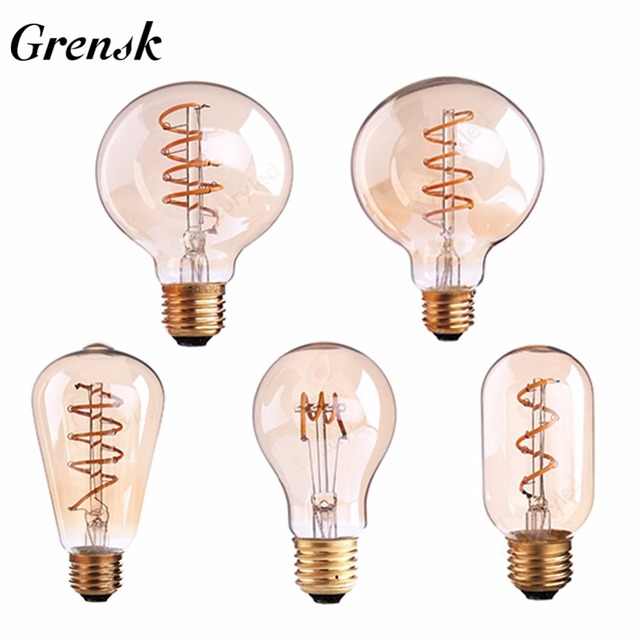 Grensk Dimmable Ampoule LED G125 E27 110V 220V Spiral Filament LED Light Bulb 3W Retro Vintage Lamps Decorative Lighting Lampada