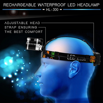High power LED Headlamp 3 xT6 LED Headlight waterproof 4 lighting modes fishing lamp use 2 x 18650 batteries 5