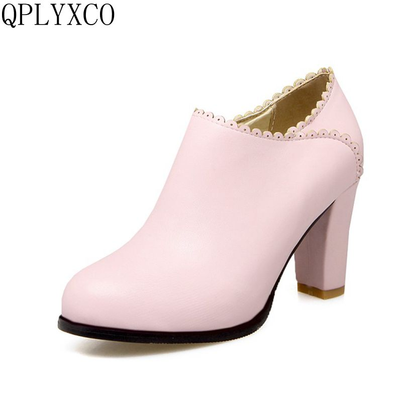 Фотография QPLYXCO 2017 New Sale Sexy Elegant Big & size 32-43 Spring Autumn women high heels shoes Lady party wedding shoes  C8-21