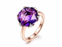 MYRAY Amethyst Engagement Ring 12mm Round Cut Stone 14K Gold,Diamond Band,Bridal Wedding Ring,Gemstone Ring