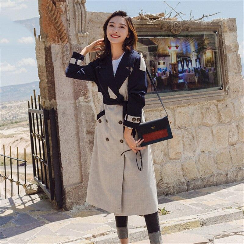 Women   Trench   Coat Spring Outwear Long Korean Contrast color Plaid Patchwork Overcoat Female Personality Windbreaker Women Coats