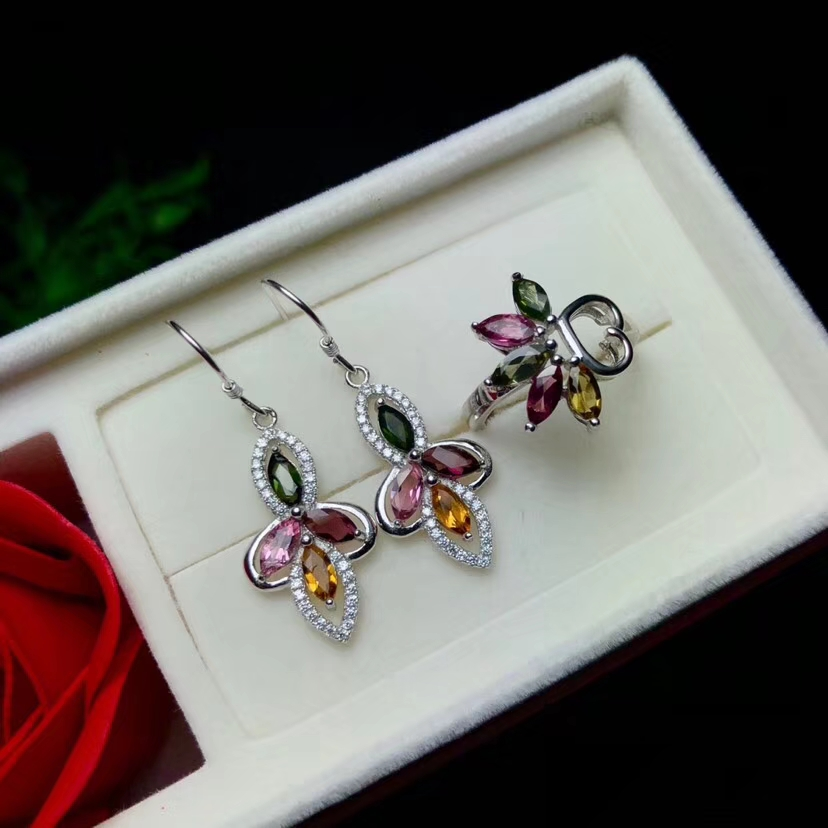 Natural Multicolor  tourmaline jewelry sets natural gemstone ring Earrings 925 silver Luxury Flower Clover women wedding jewelryNatural Multicolor  tourmaline jewelry sets natural gemstone ring Earrings 925 silver Luxury Flower Clover women wedding jewelry