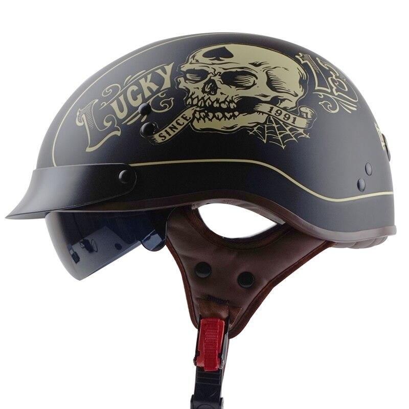 TORC T55 vintage moto rcycle casque rétro scooter demi casque avec objectif intégré visière jet capacete casque moto casques DOT