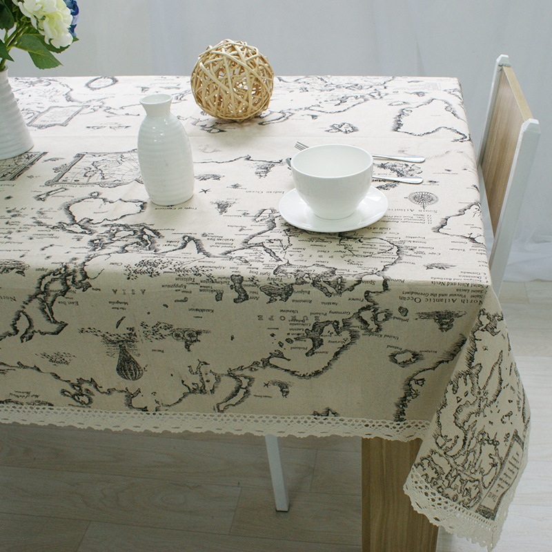 Modern World map prints linen table cloth linen fresh home hotel restaurant table cloth