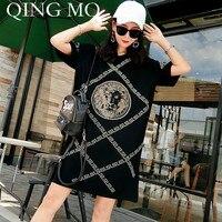 QING MO Plus Size Women Summer Dress 2019 with Rhinestone Short Sleeve Black Shirt Dress Character Pattern Loose Dress ADQ361