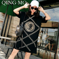 QING MO Plus Size Women Summer Dress 2019 with Rhinestone Short Sleeve Black Shirt Dress Character Pattern Loose Dress ADQ361