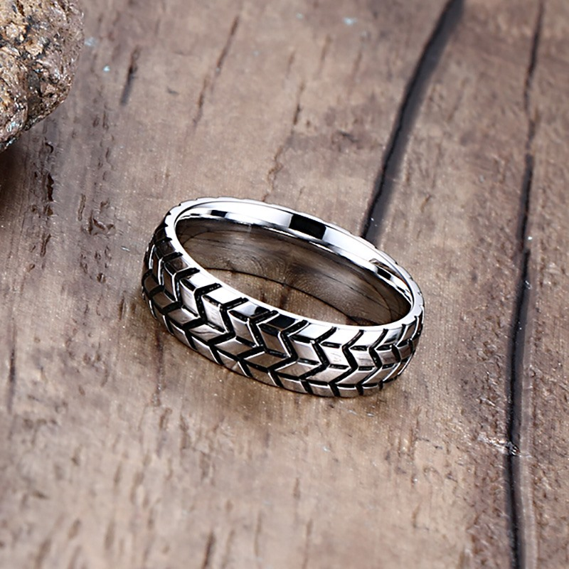 NEWBUY Brand 6mm Mens Tire Shape Ring Vintage Design Stainless Steel Wedding Rings For Car Fans Jewelry Gift In From Accessories On