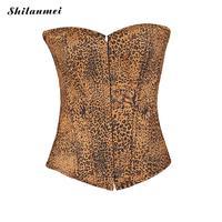 Hot Sale Women Fashion Shapewear Long Belt Waist Cincher Punk Leopard Waist Trainer Corsets Bustier Crop