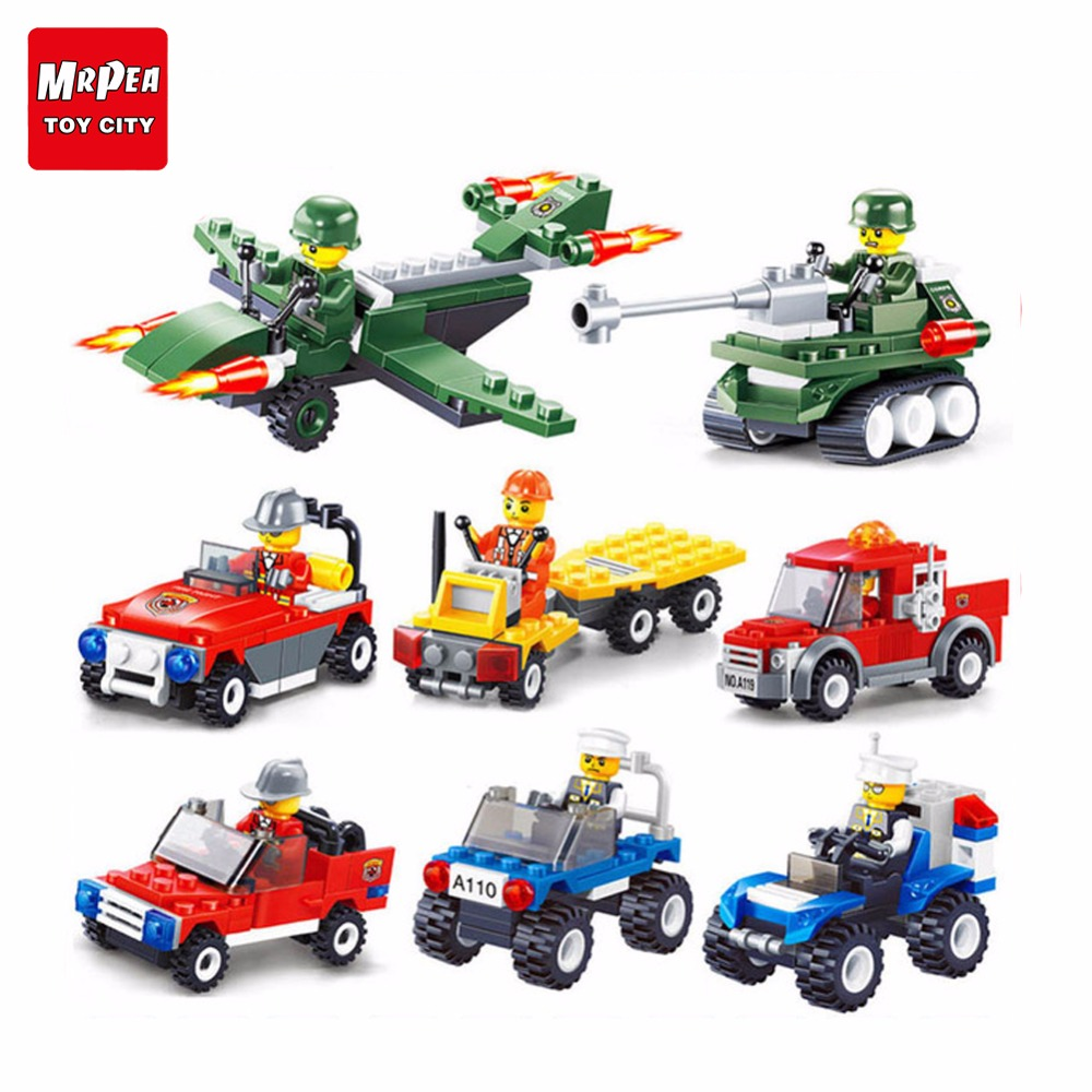 Joyyifor 8 In 1 Engineering Vehicle Series Car Truck Compatible With Legoinglys Figure Action Assemble Toys For Children Gifts Model Building