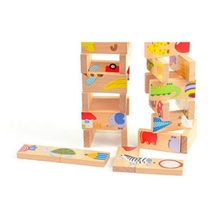 Multicolor wooden toys preschool montessori Educational toys for baby kids 28 square blocks Domino children's educational toys