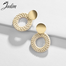 JOOLIM  White Ratten Knitted Hollowout Hoop Earring Summer Holiday European Wholsale