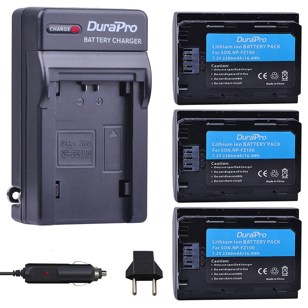 3x NP-FZ100 NPFZ100 NP FZ100 battery 7.2V + charger for Sony A7R III A7 III BC-QZ1 A9/A9R Alpha9 Alpha9R Alpha 9S A7RM3 camera np f960 f970 6600mah battery for np f930 f950 f330 f550 f570 f750 f770 sony camera