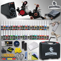 Complete Tattoo Kit 2 Top Machine Gun 40 Color Ink TOP Power Supply Needle with case HW-8GD
