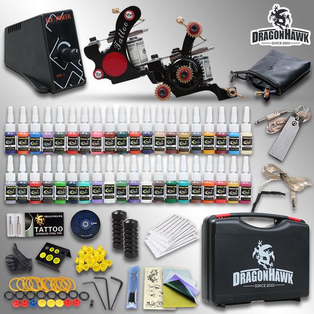 Kit completo del tatuaje 2 TOP Machine Gun 40 de tinta de Color superior de alimentación aguja con el caso HW-8GD