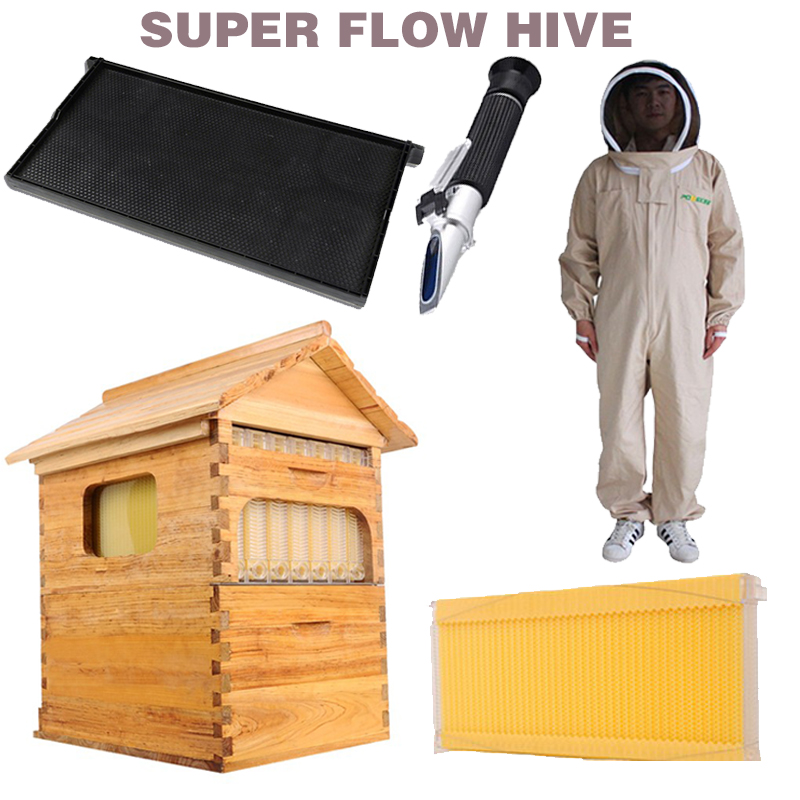 Free ship smart automatic honey flow hive set for honey bee hive honeycomb 7 frames plastic honeycomb bee dress suit hive flow new free shipping one type honey flow hive 20 pcs plastic frame honey bee hive honeycomb free installation hive flow hive frames