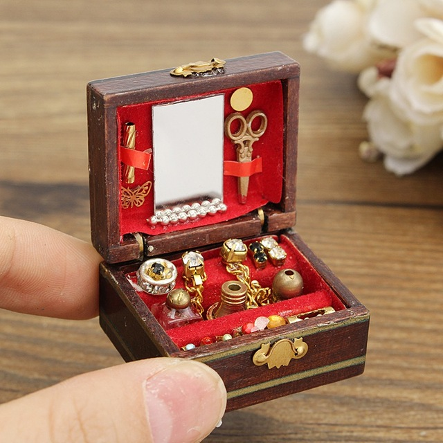 mini retro vintage wooden doll house miniature filled jewelry box
