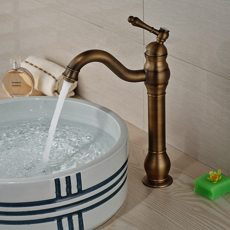 Luxury Brass Retro Style Basin Faucet Deck Mount Single Handle Bathroom Countertop Sink Mixer Taps
