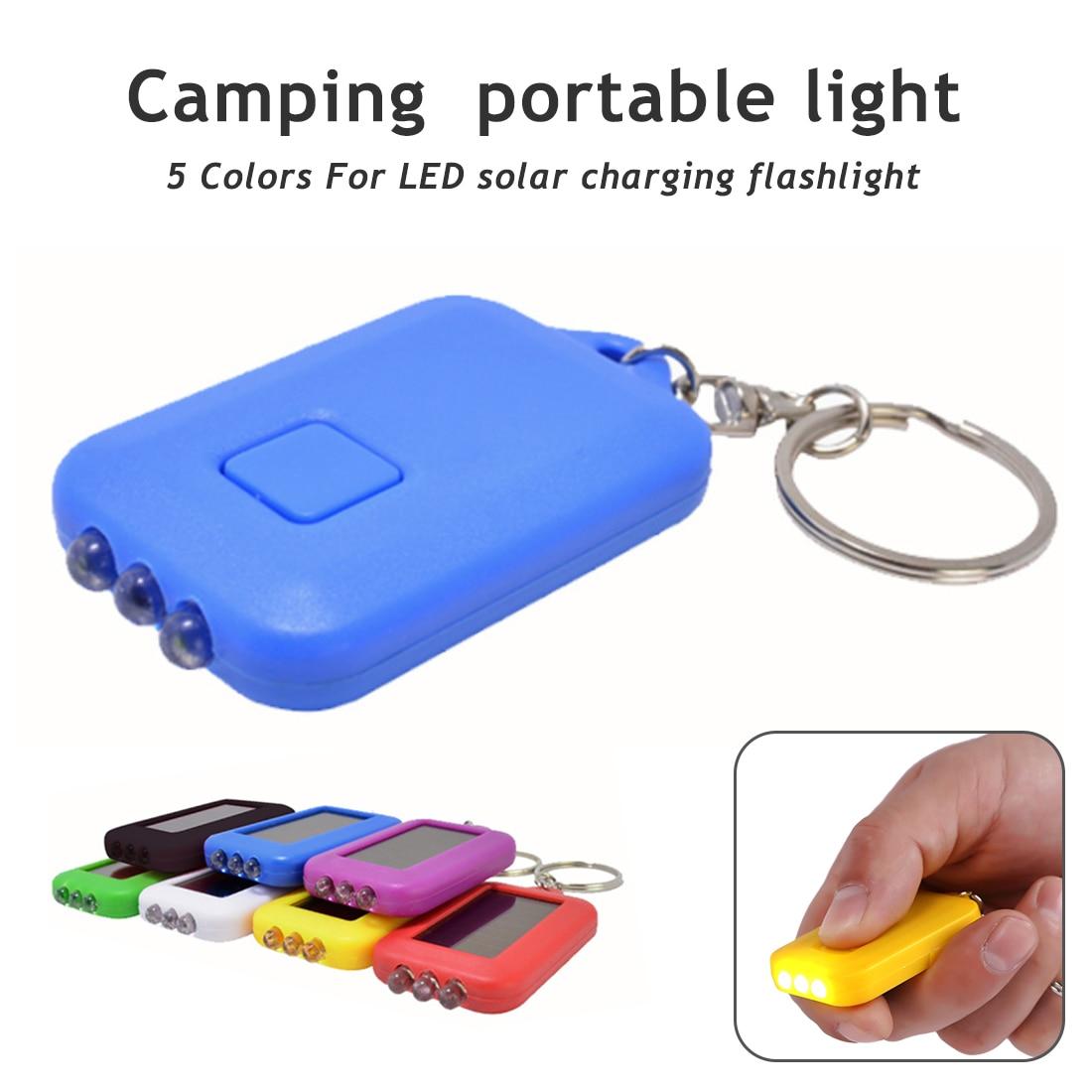 5.9cm*3.5cm*1.1cm 3 Led Light  Solar  Flashlight Keychain Portable Light Torch Key Chain Emergency Camping Lamp Backpack Light