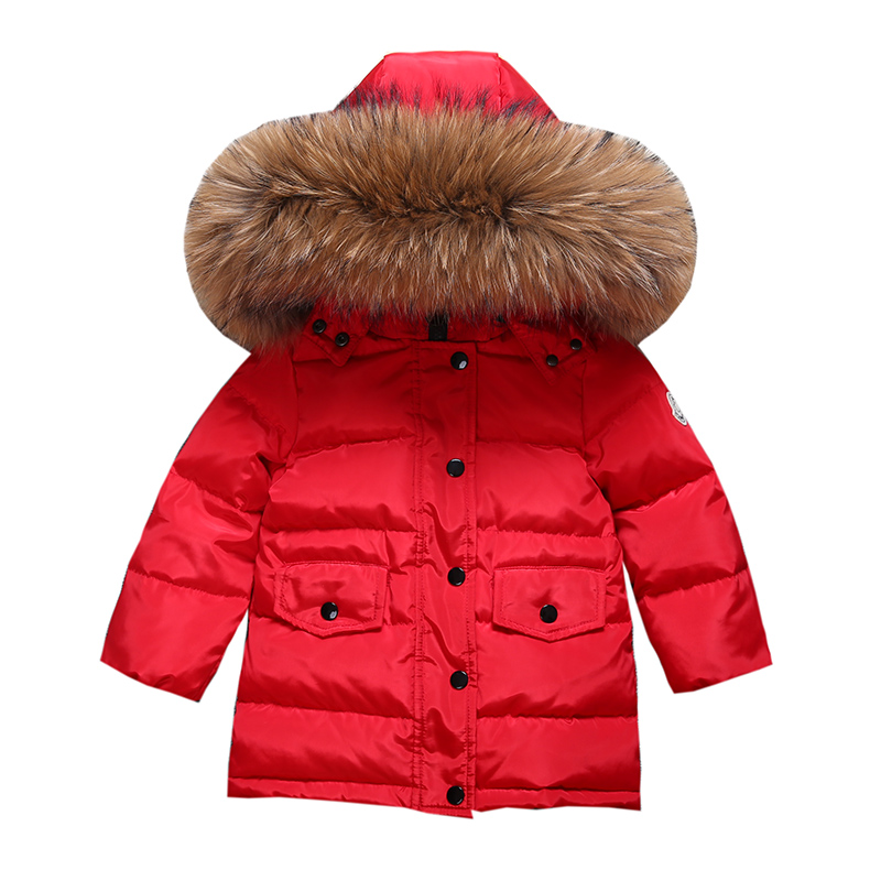 4-8y Children Long Fashion Big Fur Down Jacket For Girls Winter Kids Overcoat 90% Duck Down Boy And Girls Clothes Warm 2017 children winter clothes boys and girls down jacket long 90