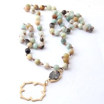 Joyería Tribal bohemia de moda, cuentas Halsband amazonita, piedras naturales Druzy, colgante con flor de la vida, collar
