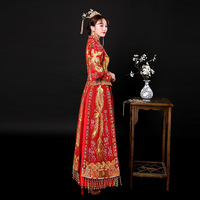 3f4bb05f82 Women Traditional Chinese Wedding Gown 2018 New Red Cheongsam Dress Vintage  Qipao Vestido China Dresses Robes