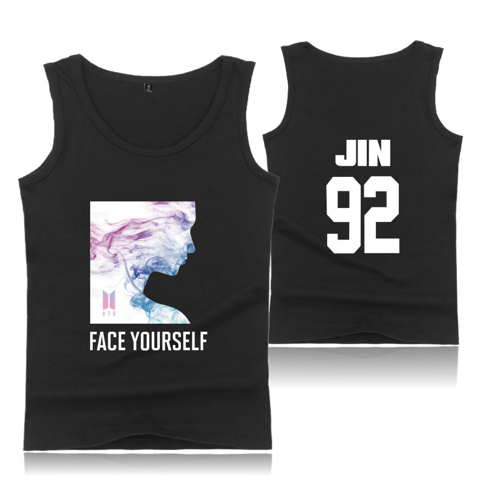 New Fashion Clothes BTS Face Yourself K-Pop Bangtan Boys Tank Top Men/Women Cotton Fashion Tank Top Casual Sleeveless Vest