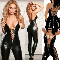 Sexy Lingerie Hot Women Prisoners Wild Charm Pu Leather Teddy Sexy Babydoll Erotic Lenceria Club Mini