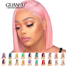 Pink Bob Lace Front Wigs Human Hair Pre Plucked 613 Blonde Blue Red Grey Green Straight Ombre Short Bob Wigs For Black Women(China)