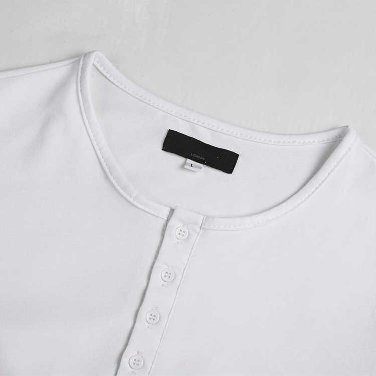 Heren Katoenen Elastische Lycra Henry Kraag Lange Mouw T-shirt Mannelijke Europese Stijl Casual Slim Effen Kleur Merk Top Tees nieuwe T955