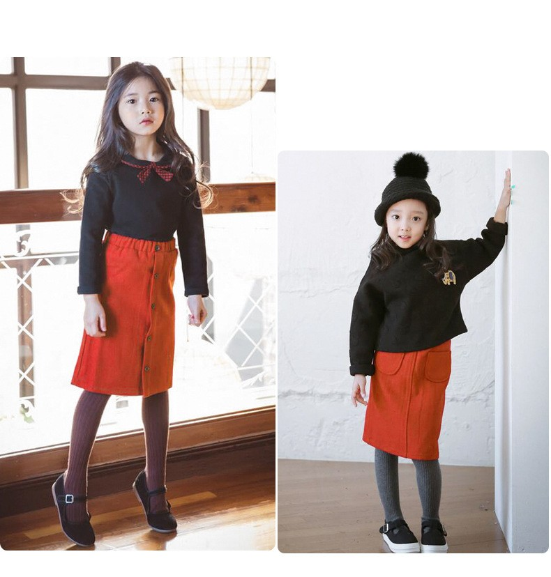 casual solid button kids skirts for girls cotton skirt clothes little big girls long skirts children clothing 2017 spring summer kids skirts clothes (11)