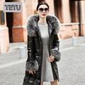 Mulheres Inverno Longo Para Baixo Casaco de Couro Genuíno Jaqueta de pele de Carneiro com o Real Fox fur Collar com capuz 776B Preto 3XL Plus Size