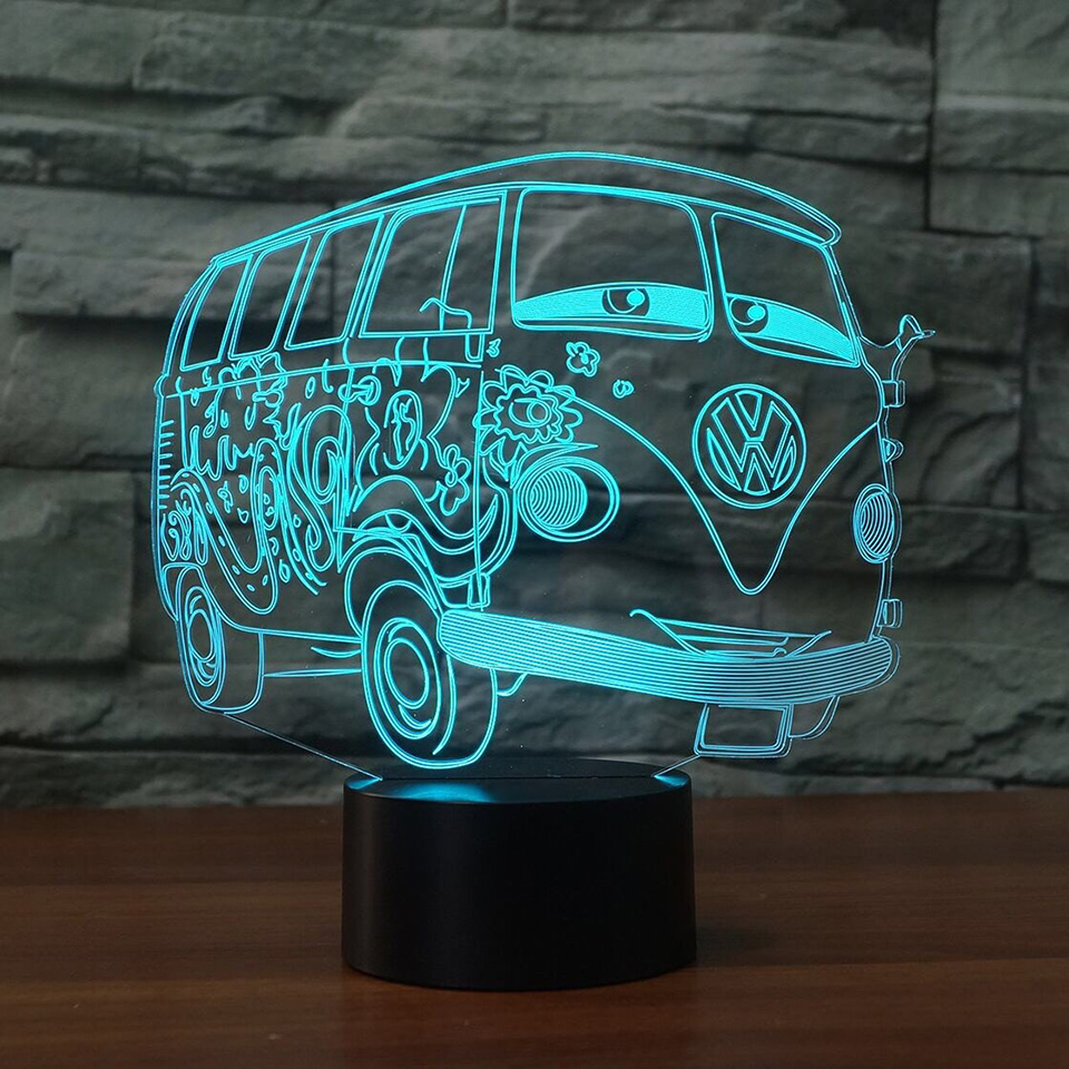 3d Visual Illusion Camping Bus Night Light Transparent Acrylic Led Car 3D Lamp 7 Color Changing Touch Table Bulbing Room Lamp