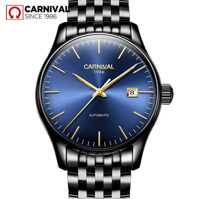 Carnival Relogio Waterproof Automatic Watch Men Business Mens Mechanical Watches Stainless Steel Calendar Wristwatch Male Clock mechanical watch seiko mineral business stainless steel automatic waterproof watch men fashion watches quality clock wristwatch page 5