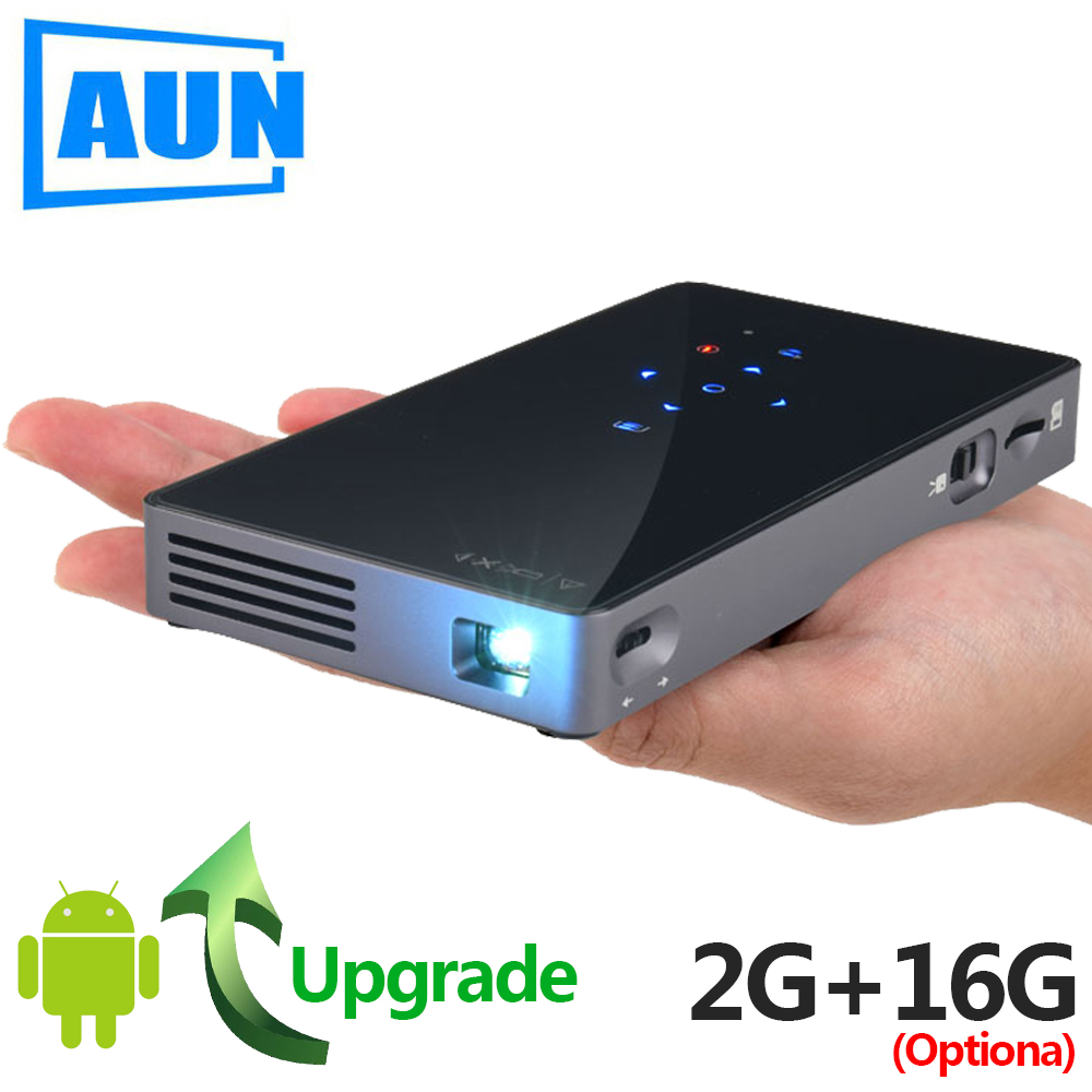 AUN inteligente proyector D5S Android 7,1 (Optiona 2G + 16g) WIFI Bluetooth HDMI Cine en Casa Mini proyector (opcional D5 blanco)