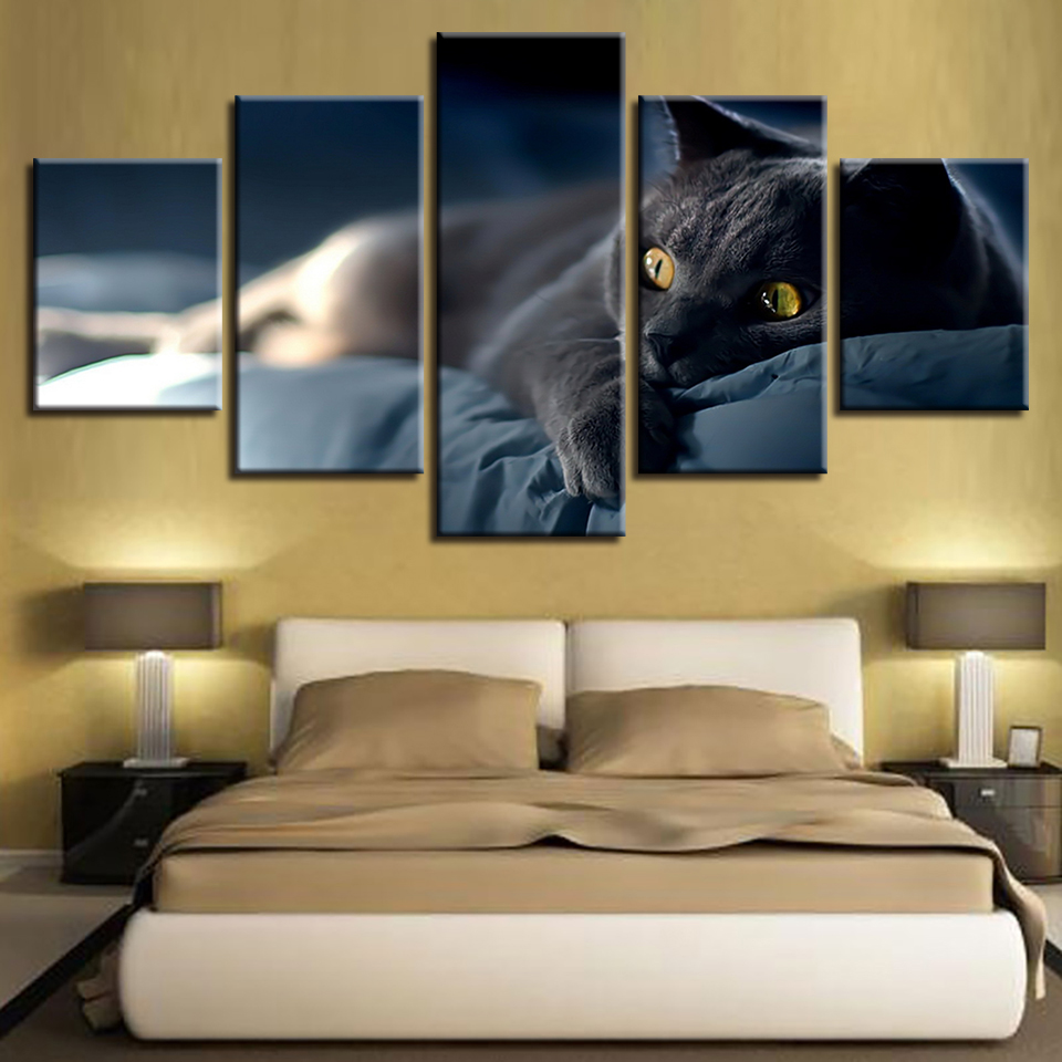 Canvas Painting Home Decor No Frame 5 Pieces Lazy Grey Cat On The Bed Pictures Modular HD Prints Animal Poster Living Room Wall