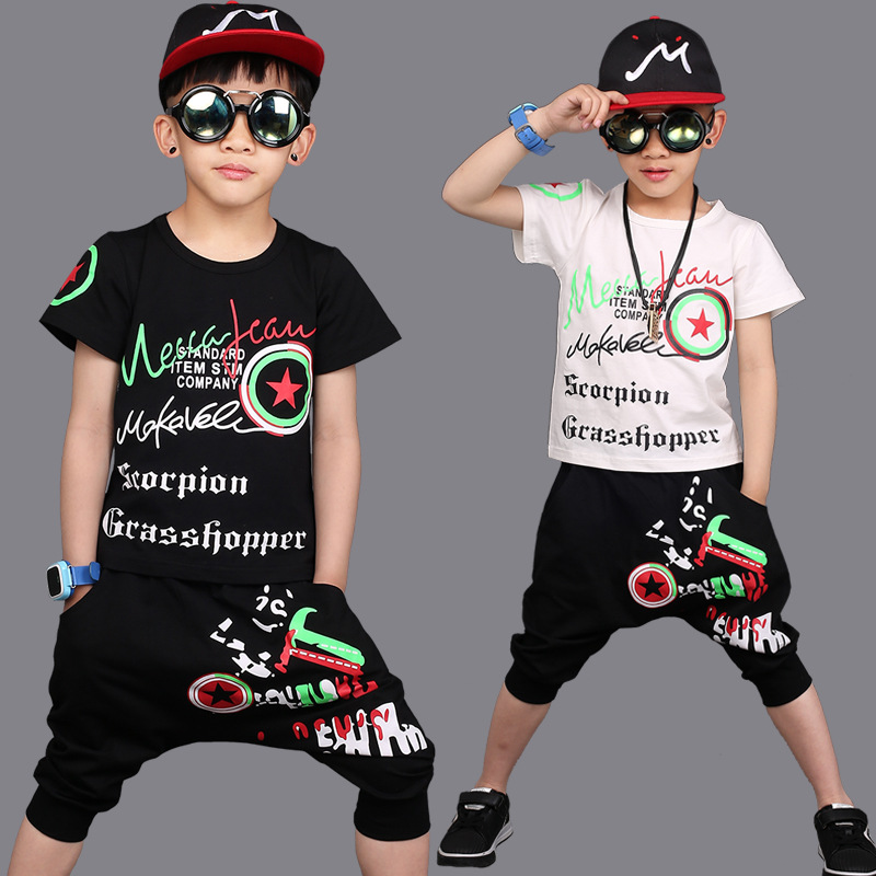 Kids Summer Suit Teenage Boys Print Clothing Sets Hip Hop Sports Suits Causal Tops + Harem Pants Boys Clothes Causal Clothing