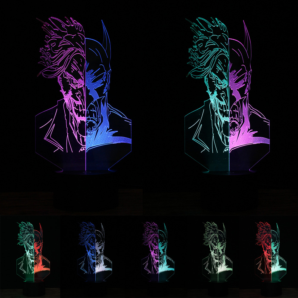 Creative Unique Superhero Two-Faced Clown Batman 7 Color Changing 3D Night Light Colorful LED Touch Table Desk Lamp Child Gifts