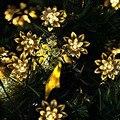 Luzes solares 4.8 m Flor de Lótus de Fadas Noite Luz para Árvore De Natal Festa de Casamento Jardim Varanda Pátio Quarto Ao Ar Livre e interior