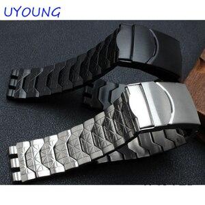Image 3 - Diamond Stainless Steel Bracelet for Swatch YCS410GX male 19mm Black Silver waterproof watch accessories