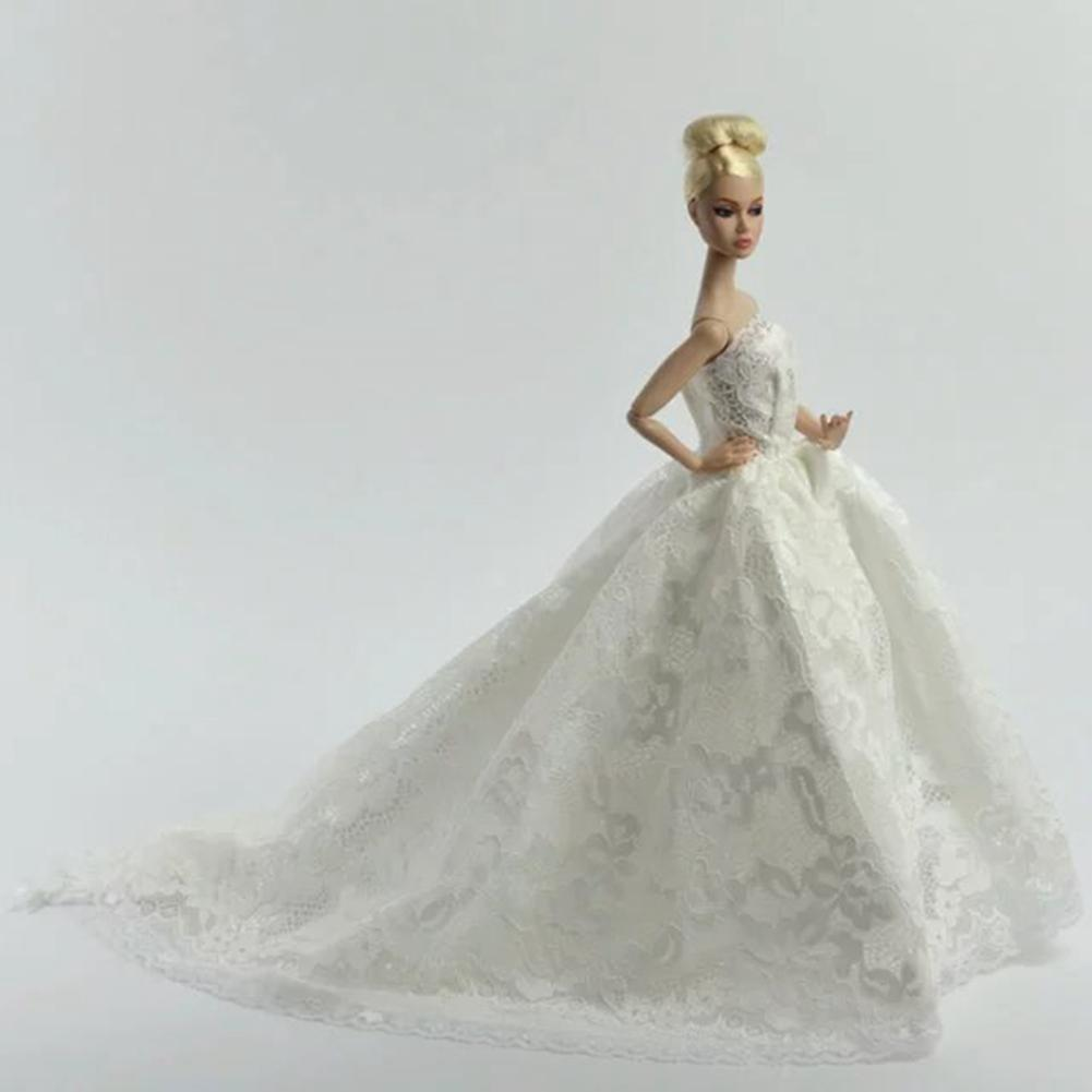 RCtown White Princess Wedding Dress Noble Party Gown For Barbie Doll Fashion Outfit Best Gift Doll With Veil HWD30