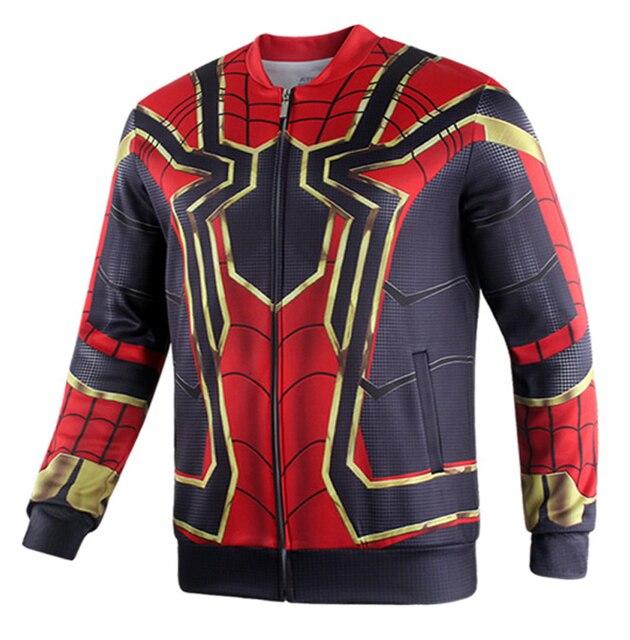 2018 movie avengers 3 infinity war iron spider cosplay jacket superhero stand collar zip up