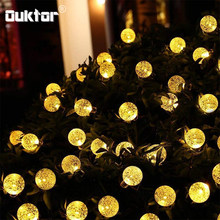 50 LEDS Crystal Ball Solar Lamp Power 7M LED String Fairy Lights Garlands Garden Christmas of Decorative Led Lights(China)