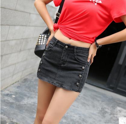 2018 Womend Denim Shorts Slim Middle Waist Button Decoration Female Vintage  Summer Jeans Skirt Shorts Black Short S 3Xl J2148 f3c359f5ff
