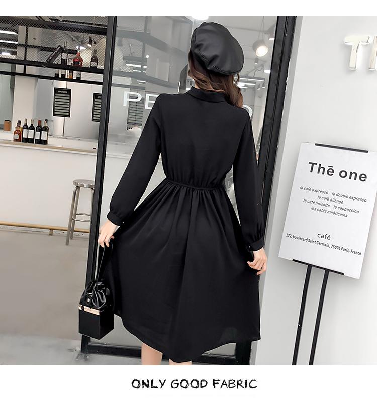 fashion bow collar women dresses party night club dress 2019 new spring long sleeve solid chiffon dress women clothing B101 18