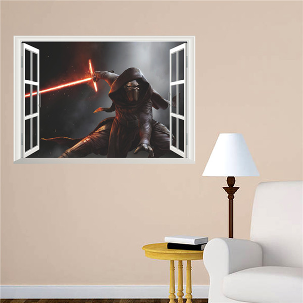 Star Wars 3d Kids Bedroom Cartoon Green Wall Stickers Peculiar