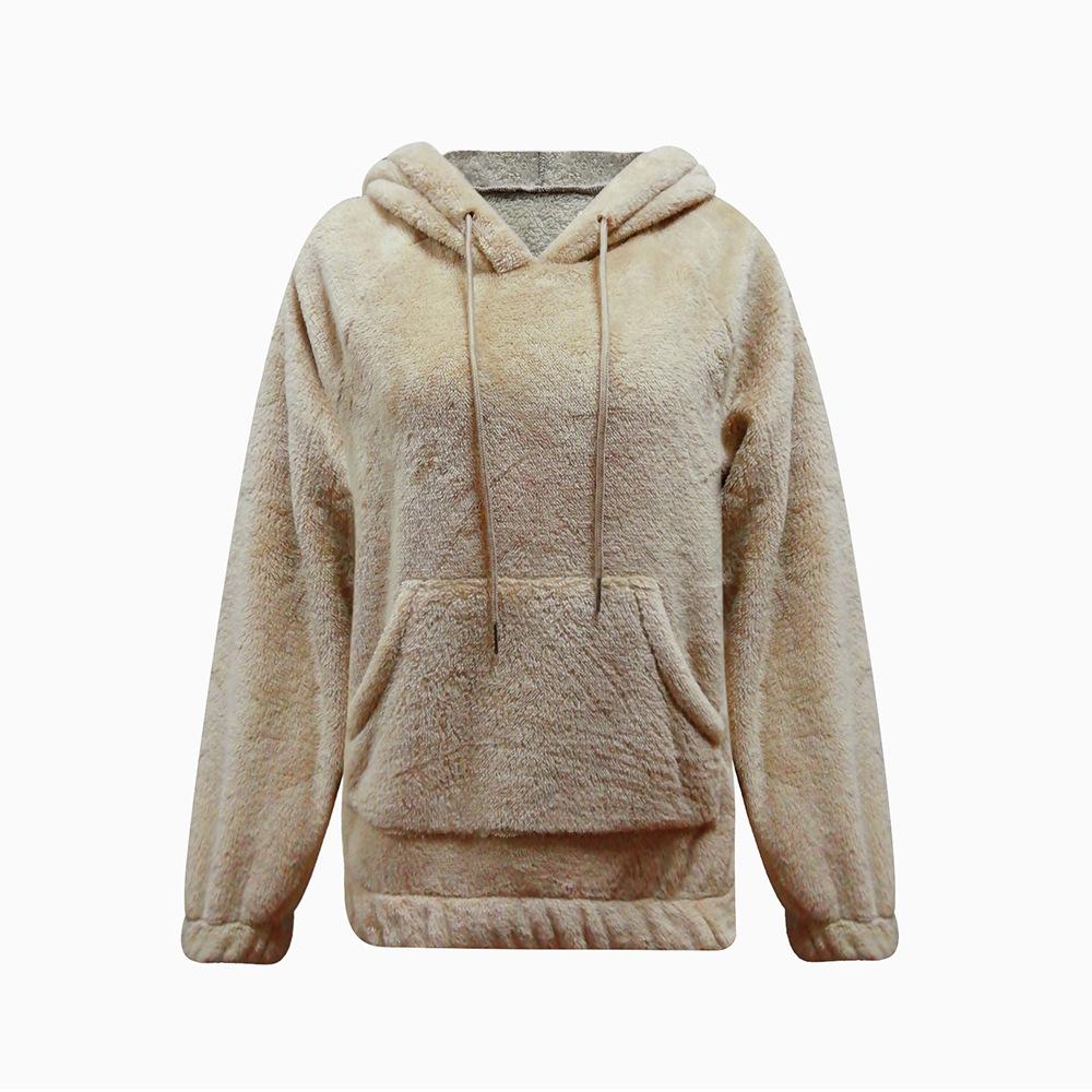 2019 New Pocket Fluffy Warm Hoodies Women Clothes Sweatshirt Harajuku Fashion Casual Flannel Hooded Sweatshirt Female Tops